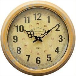 Yosemite Circular Iron Wall Clock with Distressed Yellow Iron Frame