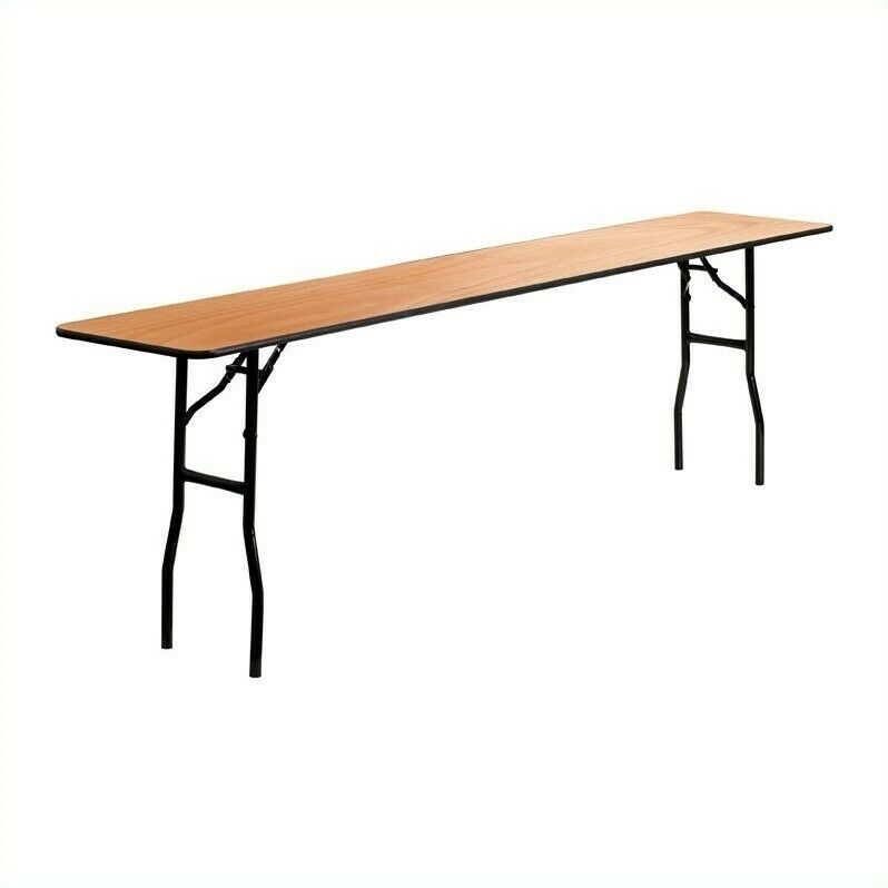 """Flash Furniture 96"""" x 18"""" Wood Top Folding Banquet Table in Natural"""