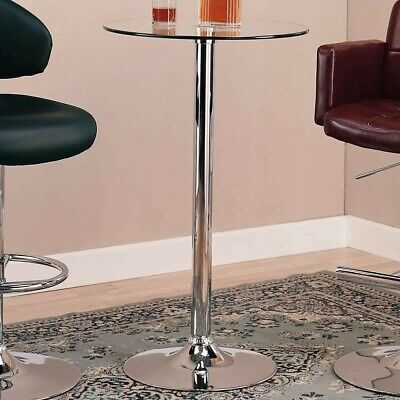 Coaster Glass Top Round Bar Table with Chrome Base ()