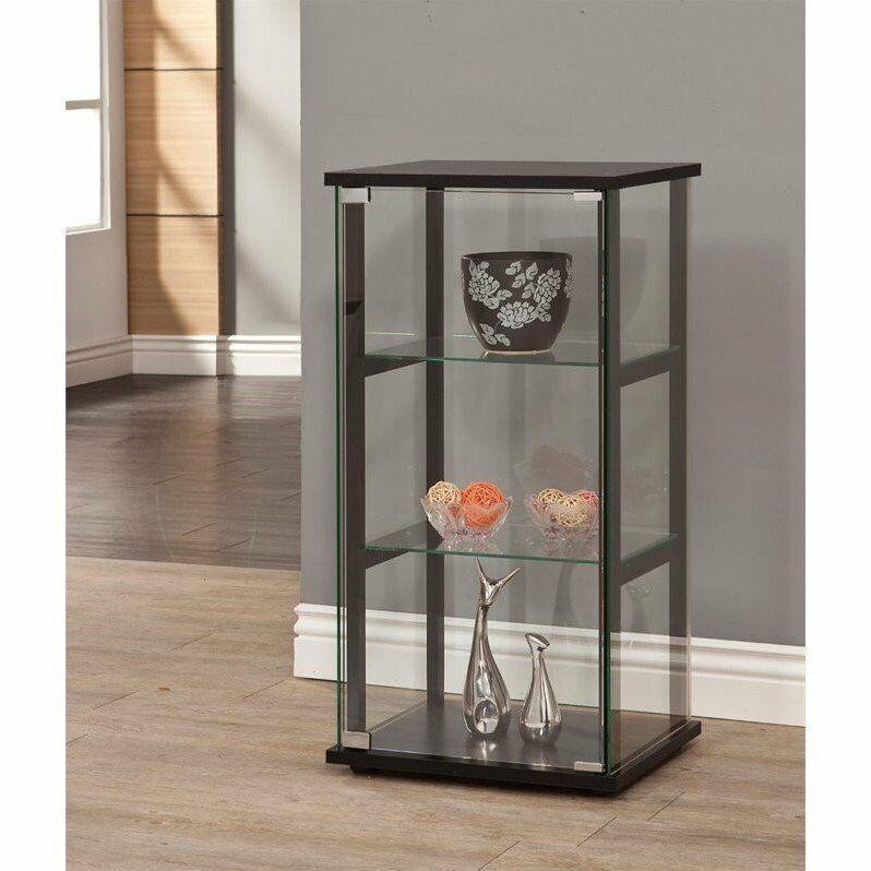 Coaster 3 Shelf Glass Curio Cabinet in Black