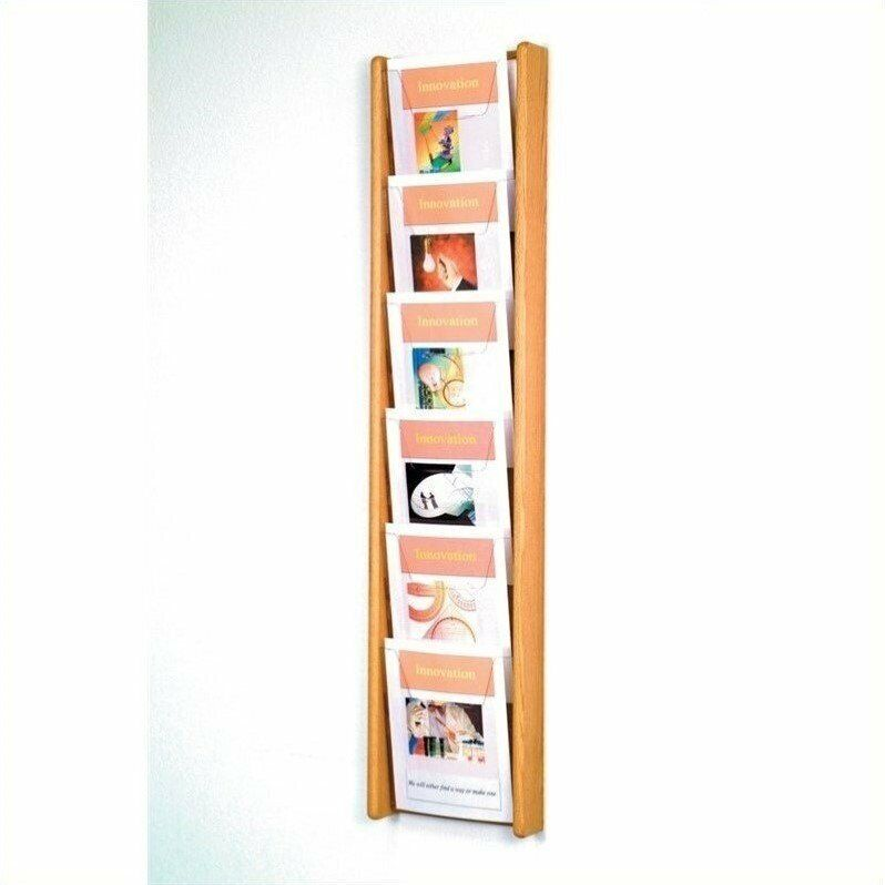 Wooden Mallet 6 Pocket Acrylic and Oak Literature Display in Light Oak