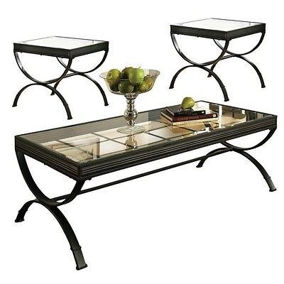 تربيزه جديد Steve Silver Company Emerson 3 Piece Coffee Table Set glass in Black