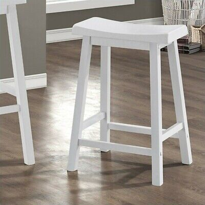 """Pemberly Row 24"""" Saddle Seat Bar Stools in White (Set of 2) for sale  Sterling"""