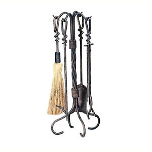 Uniflame 5 Piece Antique Rust Wrought Iron Toolset Fireplace Tools