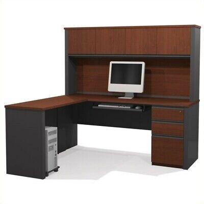 Bestar Prestige + 5-Piece L-Shape Computer Desk in Bordeaux / Graphite ()