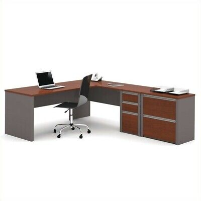 Bestar Connexion L-shaped Workstation with Lateral File in Bordeaux and Slate Files Lateral Wood Laminate