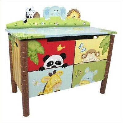 Fantasy Fields Hand Carved Sunny Safari Toy Chest Hand Painted Toy Chest
