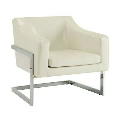 Coaster Contemporary Accent Chair with Metal Frame in White ()