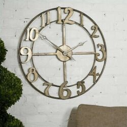 Uttermost Delevan 32 Metal Wall Clock in Antique Silver Leaf