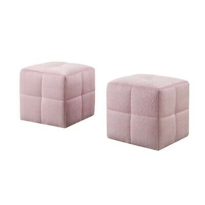 Juvenile Ottoman in Fuzzy Pink Set of 2