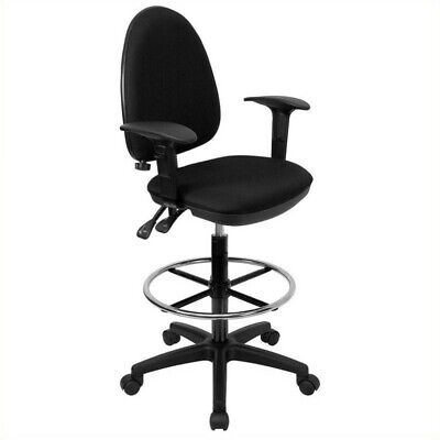 Flash Furniture Mid-back Drafting Chair With Arms In Black