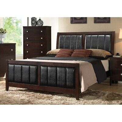 Coaster Carlton Faux Leather King Panel Bed in Black and Cappuccino Leather Panel Drawers