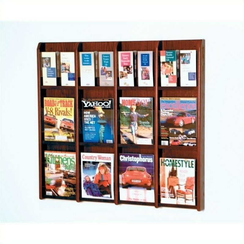 Wooden Mallet Literature Display with Optional Floor Stand in Mahogany