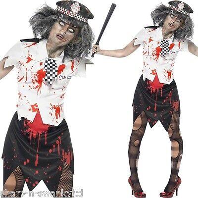 Damen-Zombie Polizistin Gesetz Dead Cop Leiche Wpc Halloween Kostüm (Cops Kostüme Halloween)
