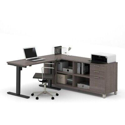 Bestar Pro Linea L Shape Power Adjustable Table In Bark Gray