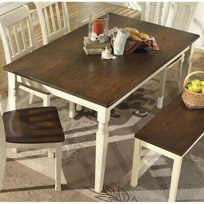 - Ashley Whitesburg Rectangular Dining Table in Brown and Cottage White
