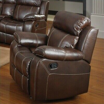 - Coaster Myleene Upholstered Faux Leather Glider Recliner in Chestnut