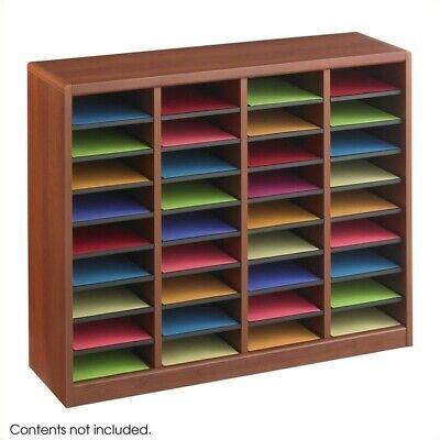 Safco E-z Stor 36 Compartments Wood Literature Organizer In Cherry