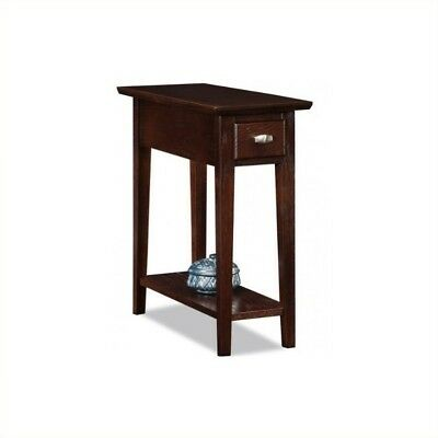 Chocolate Brown Finish Wood - Leick Furniture Chairside-Recliner End Table in a Chocolate Oak Finish