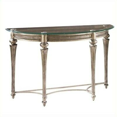 Magnussen Galloway Demilune Sofa Table with Glass Top