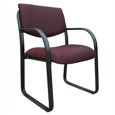 Reception Chair Upholstered In Burgundy Fabric w Curved Arms