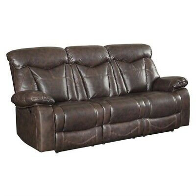 Coaster Zimmerman Faux Leather Motion Reclining Sofa in Dark Brown