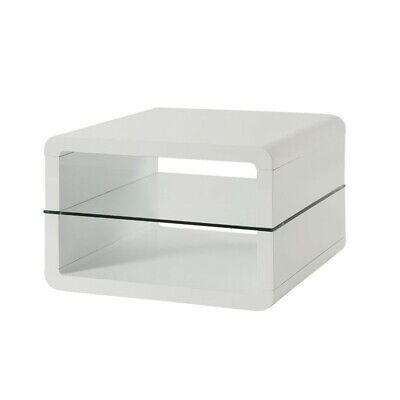 Coaster 2 Shelf End Table in Glossy White Glass Country End Table