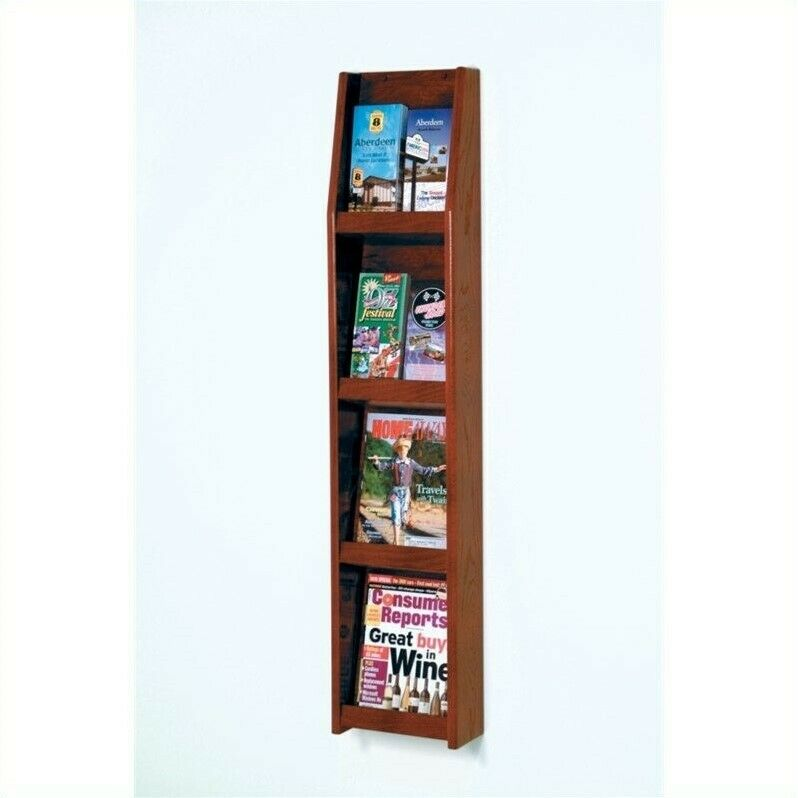 Wooden Mallet Dark Red Mahogany Literature Display in 8 Pocket