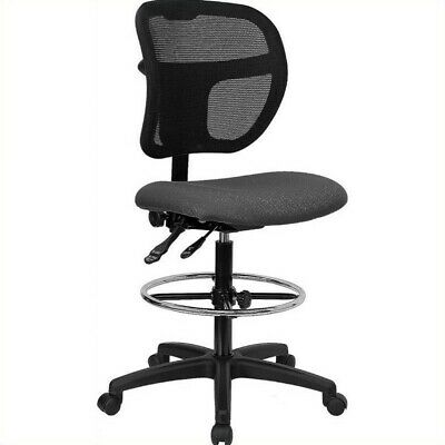 Flash Furniture Mid-back Mesh Drafting Chair With Gray Fabric Seat