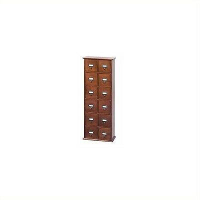 "Leslie Dame 40"" Tall 12-Drawer 144 CD Media Storage Cabinet in Walnut"