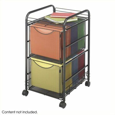 Safco Onyx Mesh File Cart With 2 File Drawers