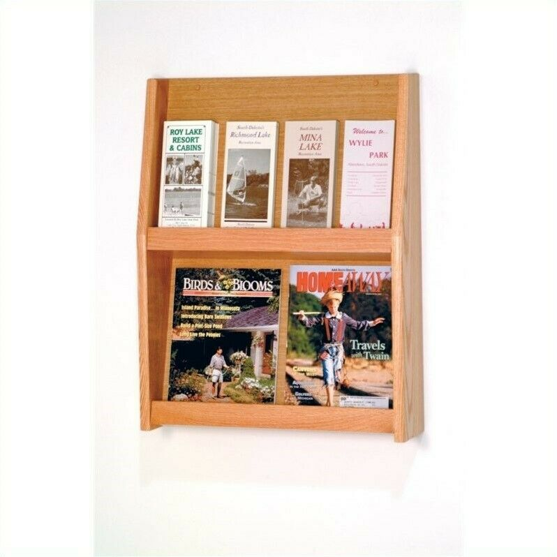Wooden Mallet 8 Pocket Literature Display in Light Oak