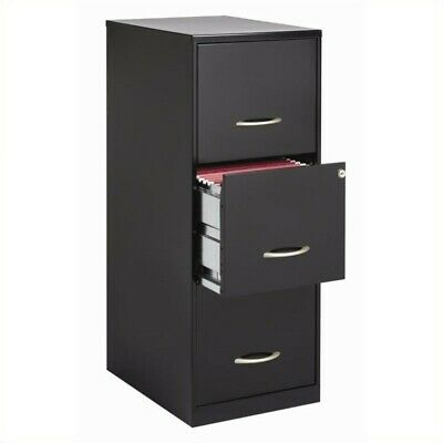 Space Solutions 3 Drawer Vertical File Cabinet With Lock Black