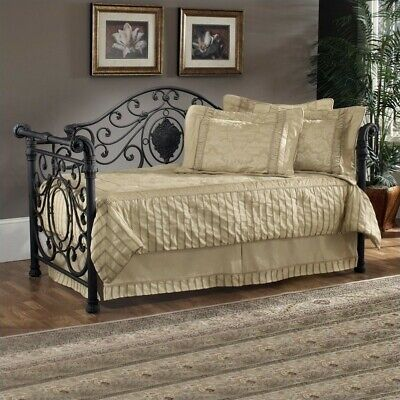 Hillsdale Mercer Metal Daybed in Antique Brown Finish-Daybed with Roll-Out Tr...
