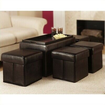 Designs4Comfort Faux Leather Storage Bench with 4 Collapsibl