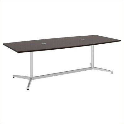 Bush Business Boat Shaped Conference Table with Metal Base in Cherry Boat Shape Conference Table