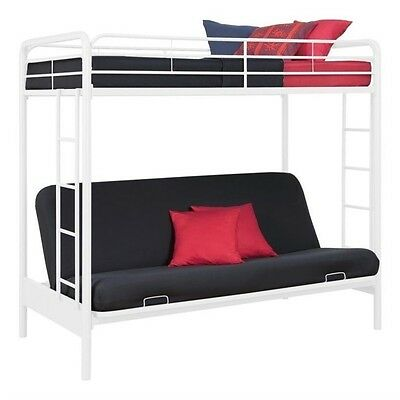 DHP Metal Twin Over Full Futon Bunk Bed in White Transitiona