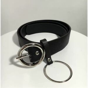 Fashion Black belt with silver rings