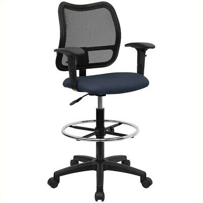 Flash Furniture Mid Back Mesh Drafting Chair In Navy Blue
