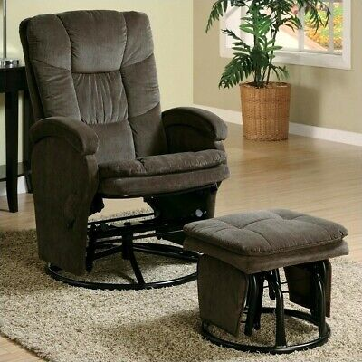 Bowery Hill Recliners with Ottomans Reclining Glider in Choc