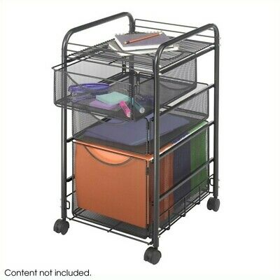 Safco Onyx Mesh File Cart With 1 File Drawer And 2 Small Drawers