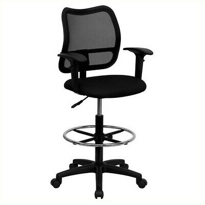 Flash Furniture Mid Back Mesh Drafting Chair In Black