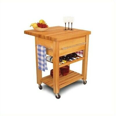 Pemberly Row Baby Grand Butcher Block Workcenter with Wine Rack in Natural ()