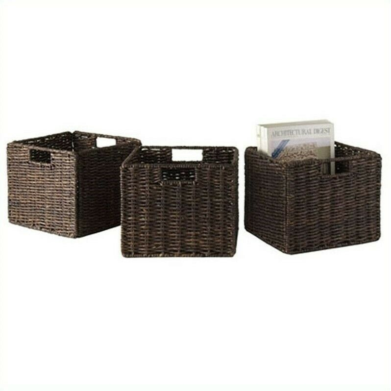 Winsome Granville Foldable 3 Piece Small Baskets in Chocolate