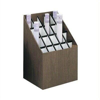 Safco Upright Roll - Safco Upright 20 Compartment Wood/Fiberboard Roll Files in Walnut