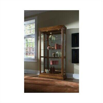 Pulaski 2 Way Sliding Door Curio Cabinet in Golden (Golden Oak Curio Cabinet)