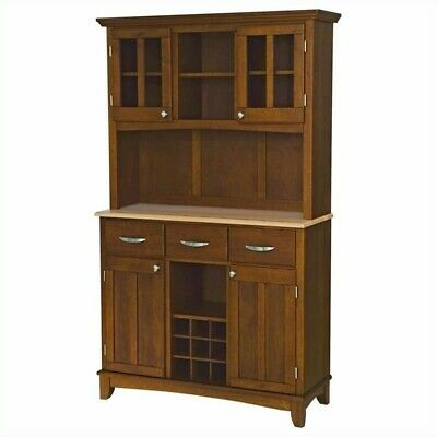 Home Styles Large Cherry Wood Buffet with Natural Wood Top and 2-Glass Door - Homestyles Large Natural