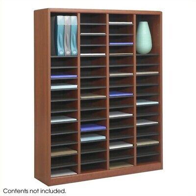 Safco E-z Stor 60 Compartments Wood Literature Organizer In Cherry