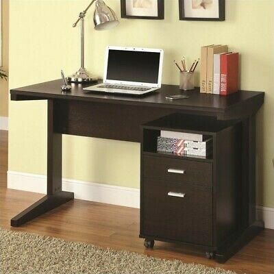 Coaster 2 Piece Desk Set with Rolling File Cabinet in Cappuccino (Coaster Furniture Set Desk)