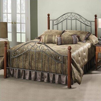 Hillsdale Martino Metal Poster Bed in Smoke Silver Finish-Queen